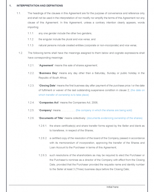 Sale of Shares Agreement Precedent_Page_2