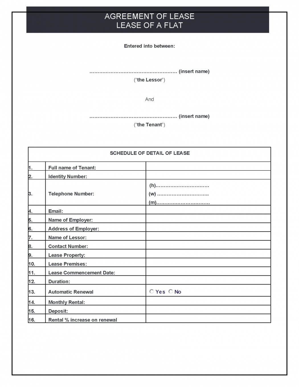Lease Agreement (Residential) Precedent
