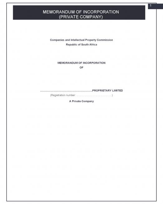 Memorandum of Incorporation (MOI)