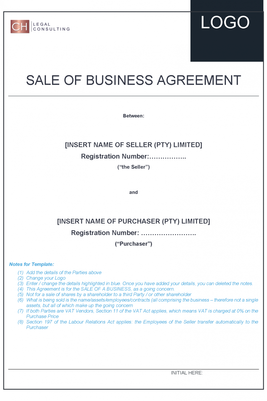 Sale of Business Agreement Precedent