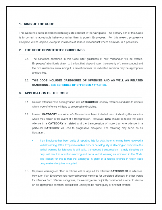 Disciplinary Code of Conduct
