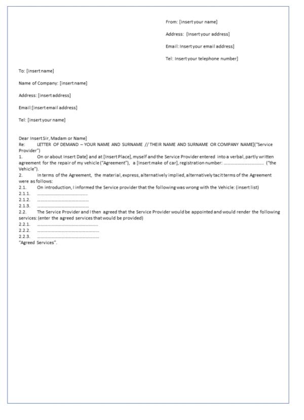 Letter of demand precedent