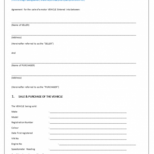 Sale of Car Agreement Template